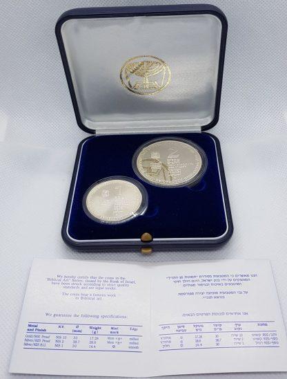 """סט מטבעות """"Biblical Art"""" משנת 1994, כסף 0.925 במצב PROOF & BU"""