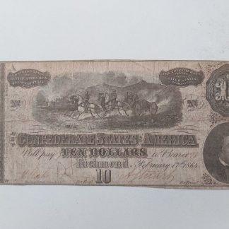 שטר קונפדרציה 10 דולר 1864
