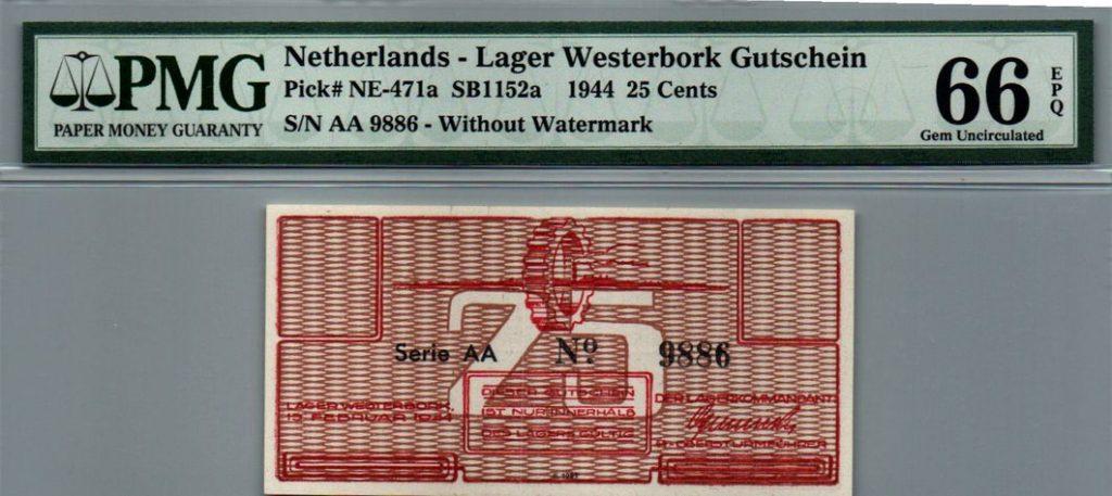 """25 סנט גטו וסטרבוק 1944 בדירוג הגבוה 66 EPQ Gem Uncirculated ע""""י ה PMG"""