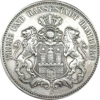 3 מארק 1909 מכסף 0.900, גרמניה (המבורג)