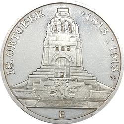 3 מארק 1913 מכסף 0.900, גרמניה (סקסוניה) - 100 שנה לקרב על לייפציג
