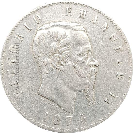 5 לירה 1875, איטליה - כסף 0.900 - 25 גרם