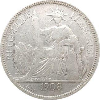 1 פיאסטר 1908 הודו-סין הצרפתית, כסף 0.900 - 27 גרם