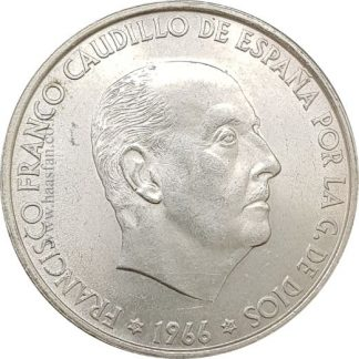 100 פסטאס 1966, ספרד - כסף 0.800, 19 גרם