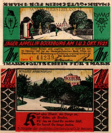 נוטגלד מבוקבורג - 1 מארק משנת 1921