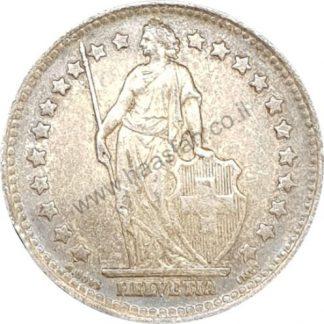 1 פראנק 1944 מכסף 0.835, שוויץ - פטינה צבעונית