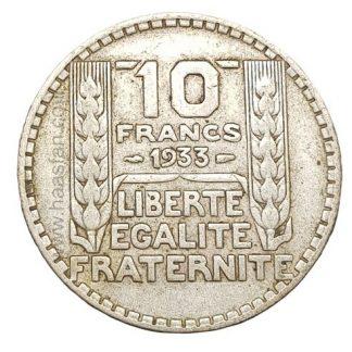10 פראנק 1933, צרפת - כסף 0.680