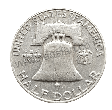 """50 סנט """"פרנקלין"""" 1953, ארצות הברית, כסף 0.900"""