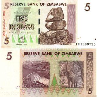 5 דולר 2007, זימבבואה - UNC