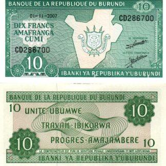 10 פראנק 2007, בורונדי - UNC