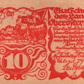 נוטגלד אוסטריה עילית - 10 חאלר משנת 1921, אוסטריה, מצב - UNC
