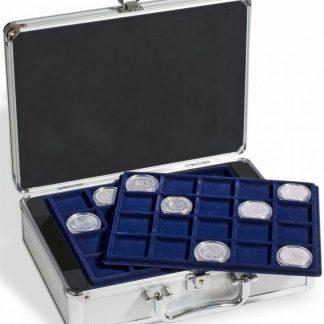 מזוודת אלומיניום ל-120 מטבעות עם 6 מגשים