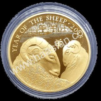 """2 פאונד 2015 - """"שנת הכבשים"""" כסף 999 מצופה זהב 999 במצב PROOF כמות הטבעה: 4,888 יחידות בלבד"""