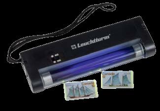 מנורת UV ניידת (אולטרה סגול) לזיהוי זיופים בשטרות, בולים וטלכרטים