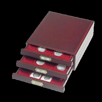 """מגירה מפוארת ואלגנטית מסדרת LIGNUM עם 20 משבצות עבור אחסון ותצוגת מטבעות בקוטר של עד 48 מ""""מ"""