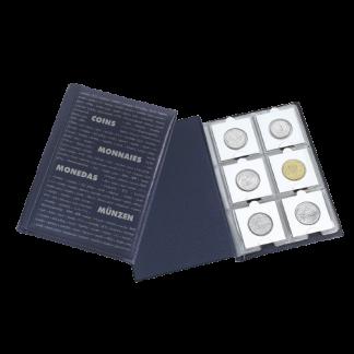 אלבום כיס של חברת Leuchtturm עבור 60 מטבעות בהולדרים - צבע כחול כהה