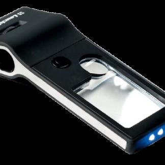 זכוכית מגדלת רב תכליתית עם מיקרוסקופ (הגדלה x15), 2 עדשות אספריות (הגדלה x3 וx10), 3 מנורות LED, תאורת עזר ומנורת UV לבדיקת שטרות ובולים