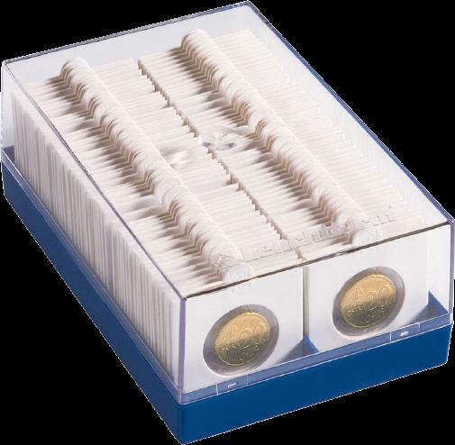 קופסת פלסטיק עבור אחסון ותצוגת 100 מטבעות בתוך הולדרים