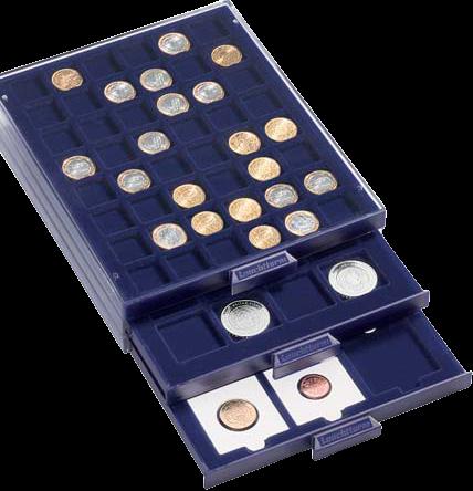 """מגש SMART עם 12 משבצות עבור אחסון ותצוגת מטבעות בקוטר של עד 50 מ""""מ"""
