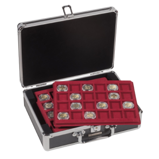 מזוודה איכותית עם 6 מגשים עבור מטבעות בקטרים שונים + 2 מפתחות